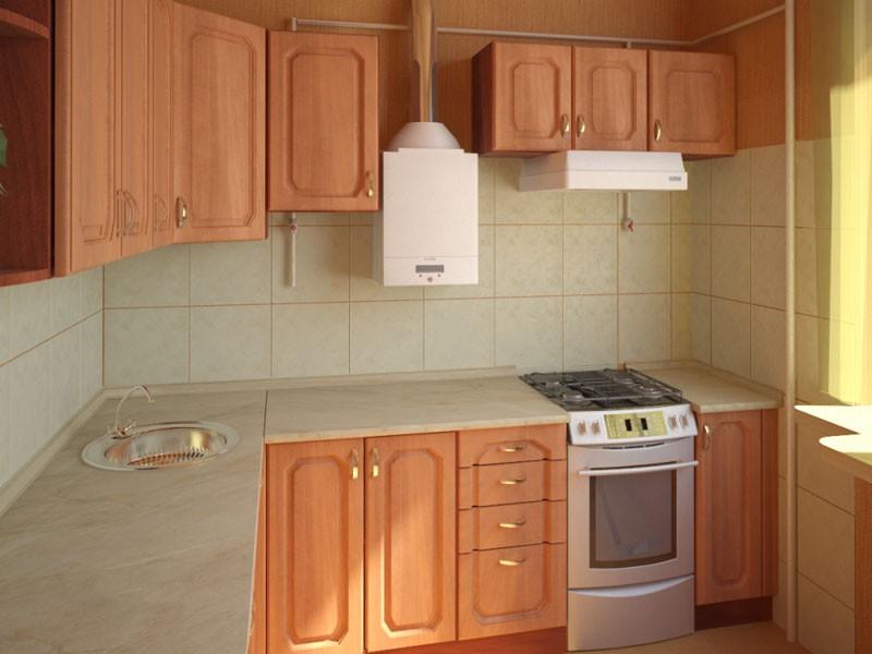 Дизайн кухни 6 кв метров газовой колонкой