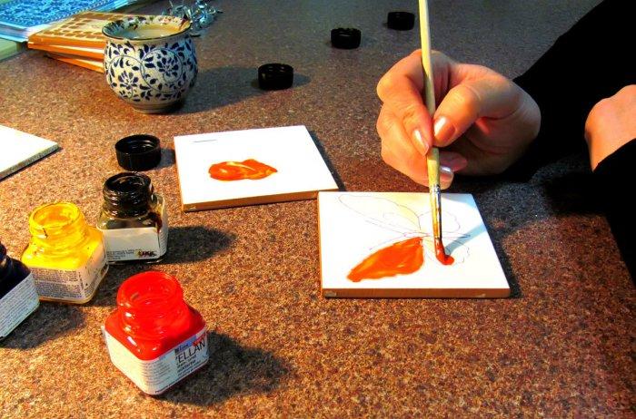 Рисунки на кафельной плитке своими руками 7