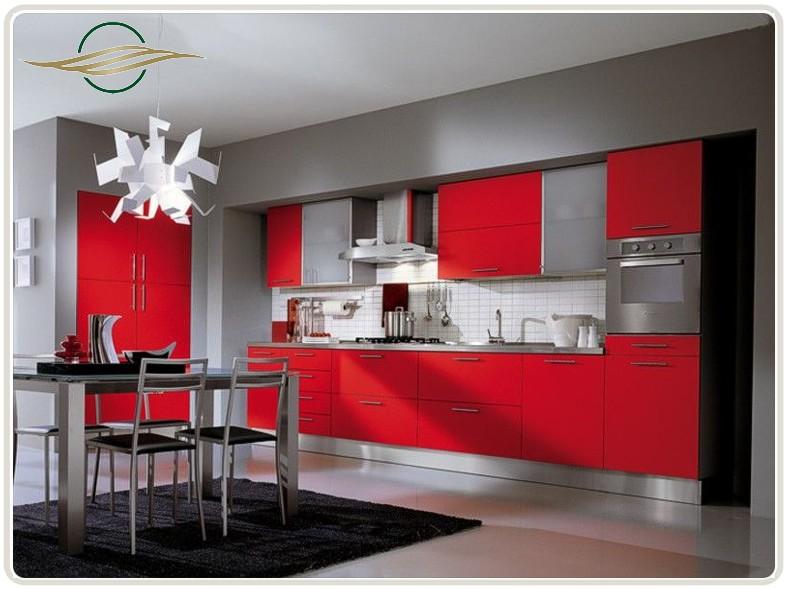 Дизайн кухни красного и черного