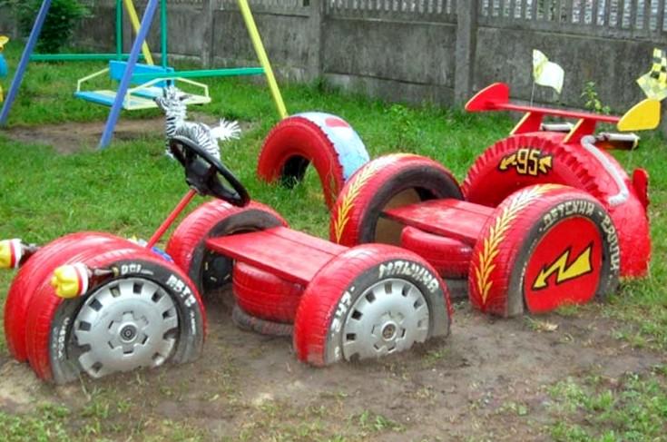 Детская площадка из колёс своими руками фото
