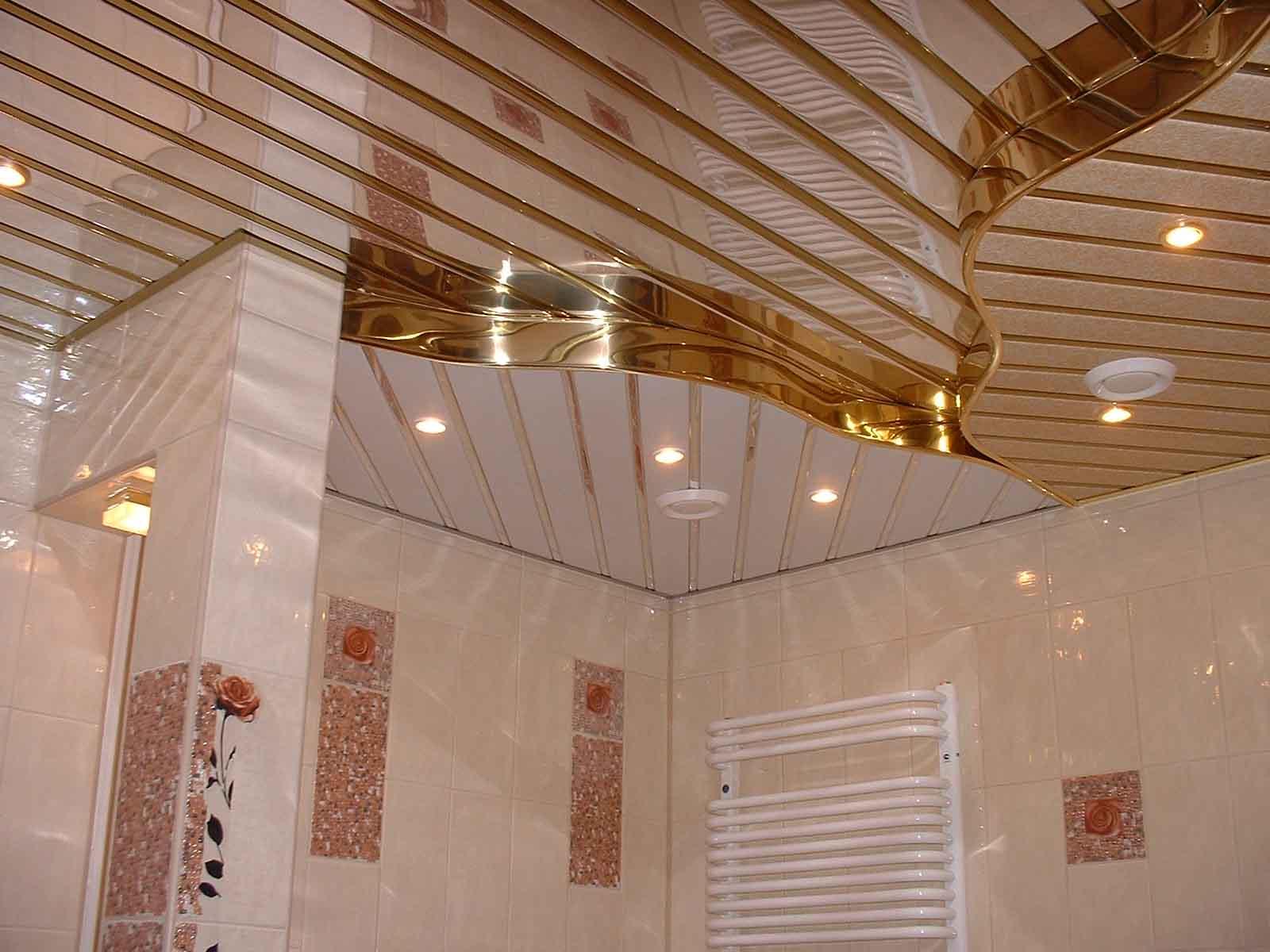 Какой потолок сделать в ванной комнате? Примеры с фото 100