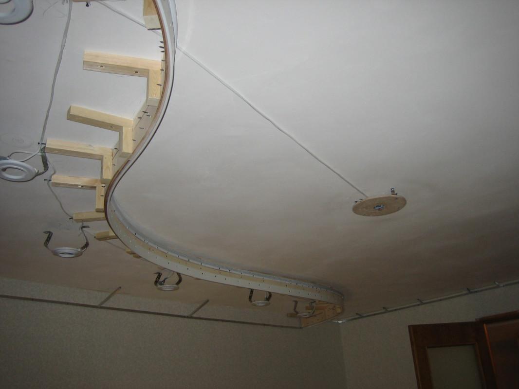 Двухуровневый потолок из фанеры своими руками