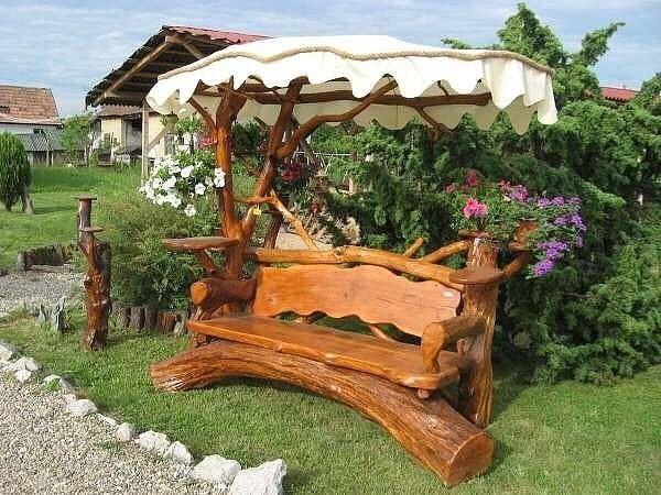 Мебель для дачи из бревна своими руками 65