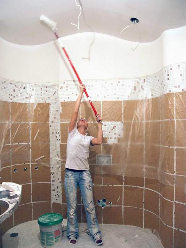 Ванная комната потолок своими руками