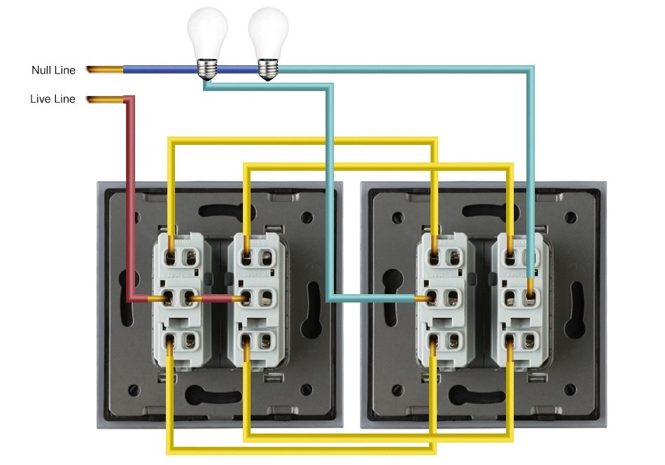 Подключение проходных двухклавишных выключателей