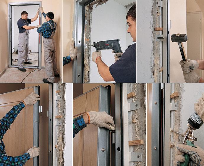 Как поставить металлическую дверь своими руками видео