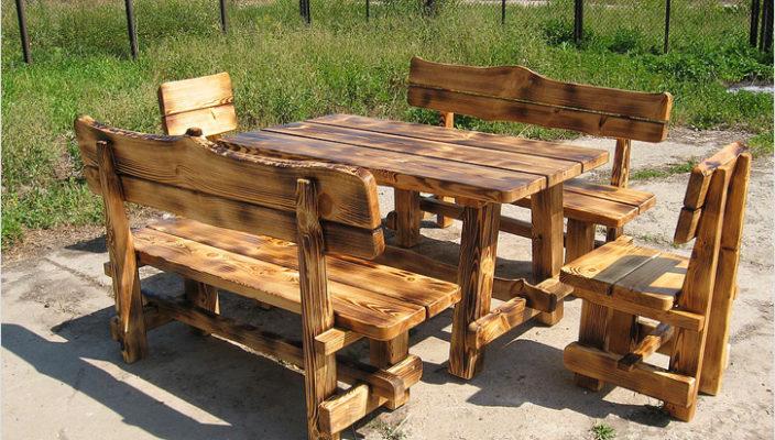 Стол и скамейки из дерева своими руками фото 77